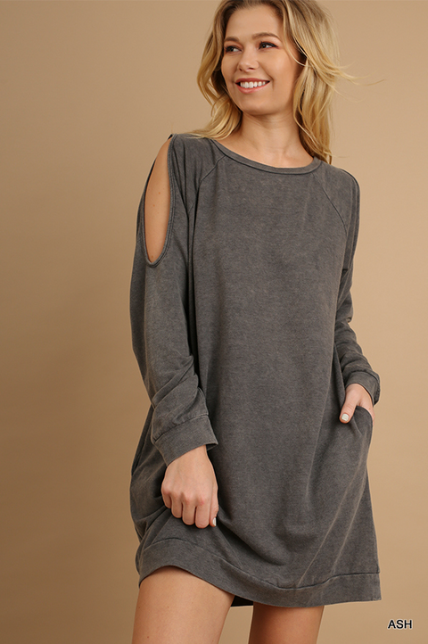 Mineral Washed Cutout Sleeves Dress with Pockets