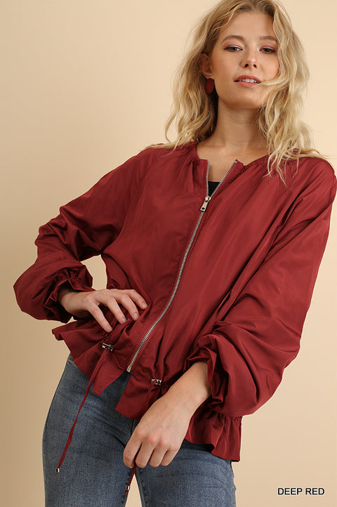 Zipper Front Jacket with Ruffled Details and Drawstring