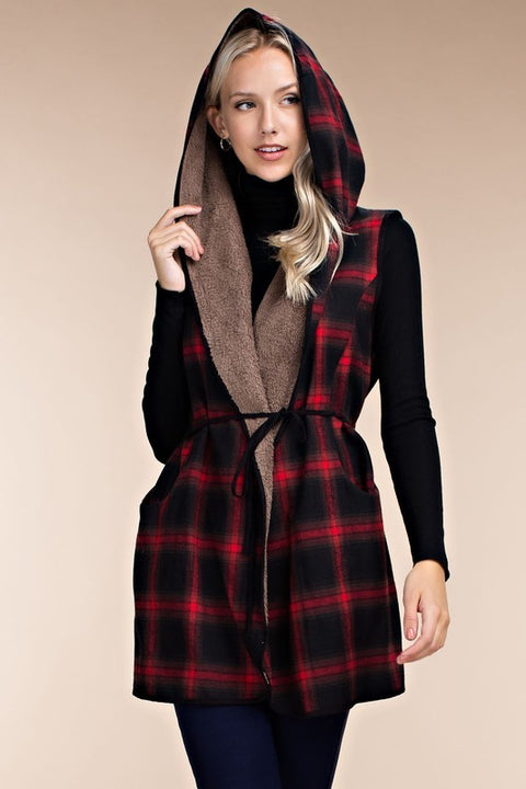 Plaid Print Contrast Hooded Sherpa Vest with Waist Tie