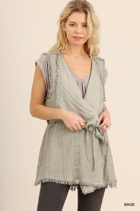 Vest with Frayed Hem and Waist Tie