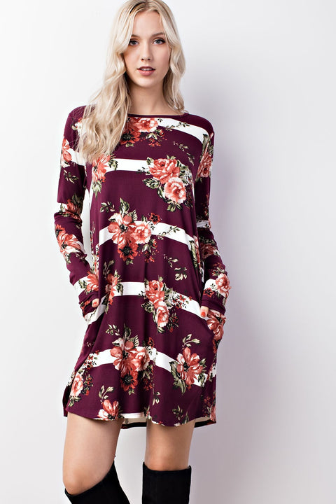 Floral Stripe Back Cut Out Pocket Dress