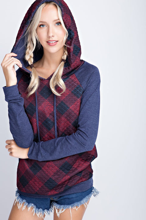 Checkered Hoodie Top