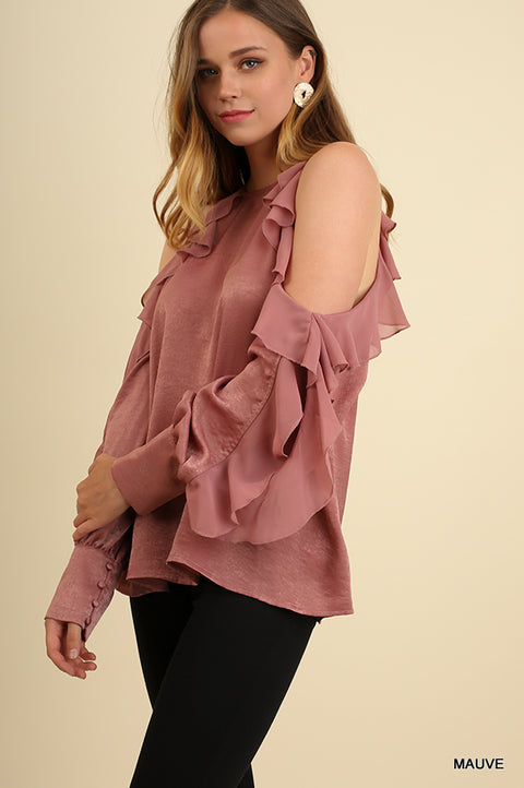 Open Shoulders Round Neck Top and Ruffled Sleeves with Cutouts