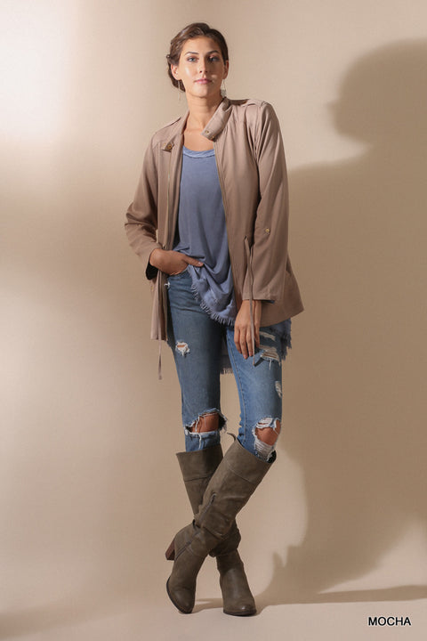 Zipper Front Jacket with Waist Tie and Roll Up Sleeves