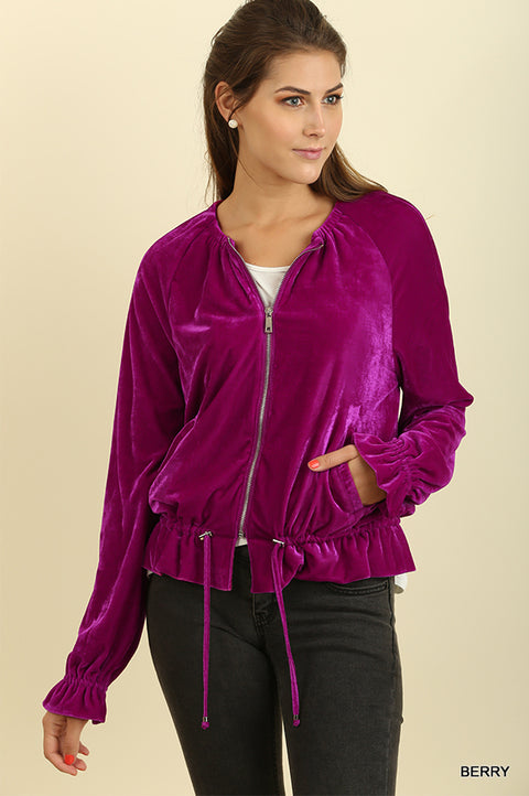 Velvet Zip Up Jacket with Ruffled Wrists and a Drawstring Waist