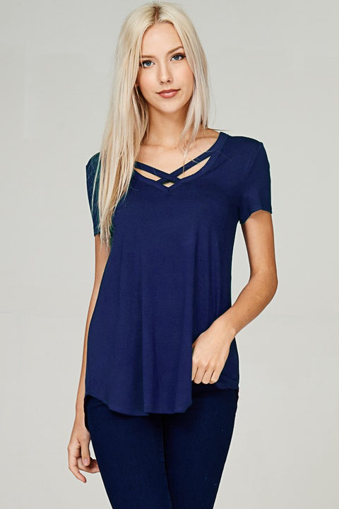 Micro Modal Criss Cross V-Neck S/S Top