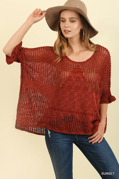 1/2 Sleeve Light Knit Sweater with Embroidered Body Design