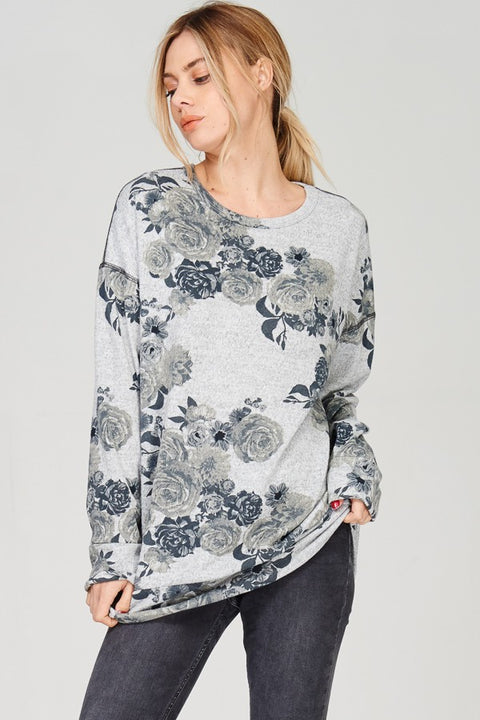 Floral Printed Melange, Long Sleeve Sweater Tunic Top