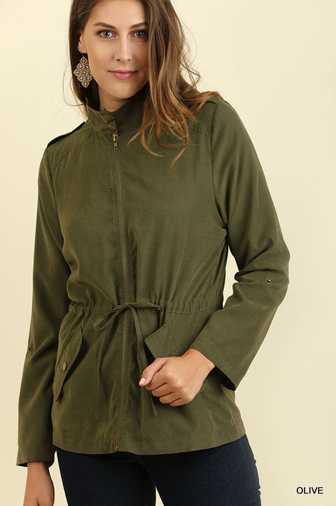 Zipper Front Jacket with Pockets and Roll-Up Sleeves