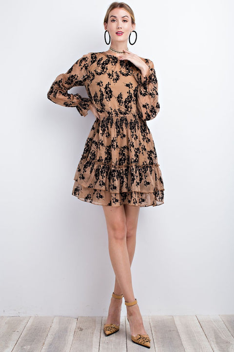Crinkle Chiffon Ruffle Dress