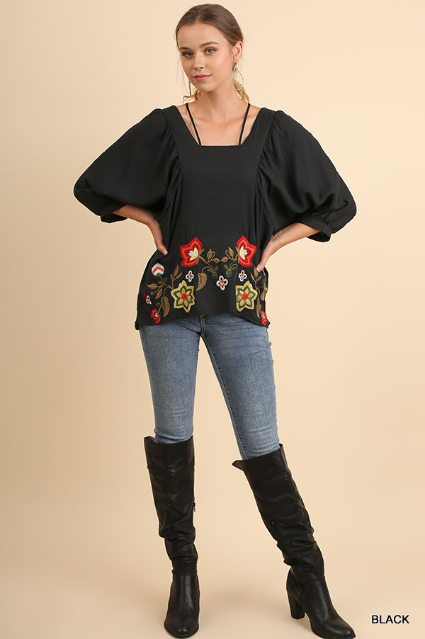 3/4 Dolman Sleeve Square Neck Top with Floral Embroidery