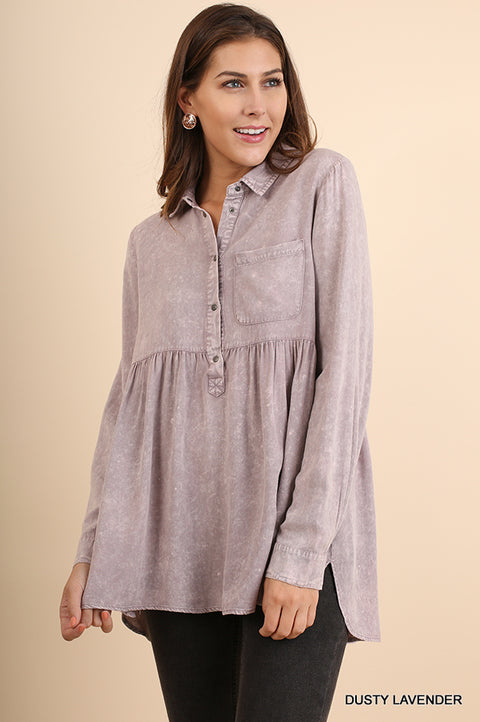 Mineral Washed Button Up Baby Doll Top with Ruffled High Low Hem