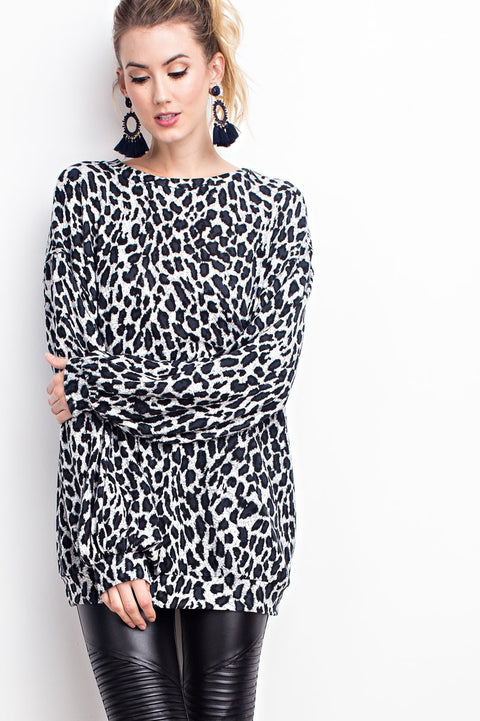 Bubble Sleeve Leopard Sweatshirt Tunic