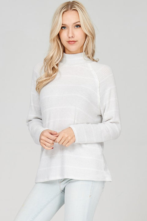Ribbed Soft Knit Turtle Neck Shirt with Long Sleeves