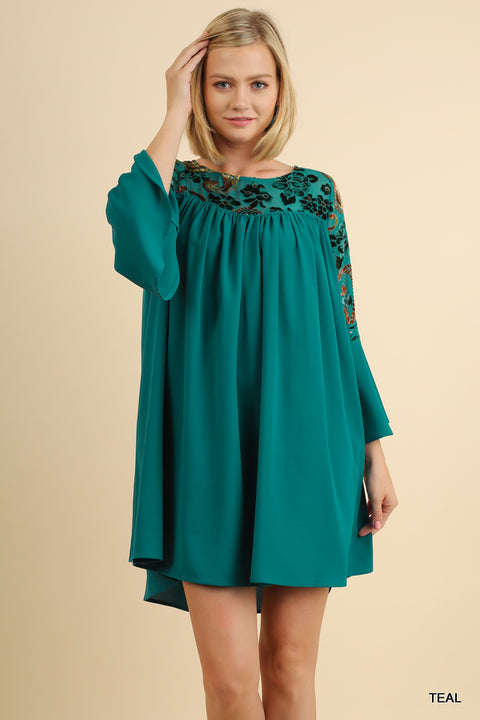 Bell Sleeve Shift Dress with a Floral Embroidered Velvet Yoke