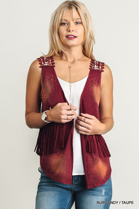 SLEEVELESS TIE DYE VEST WITH FRINGE DETAILS ON BODICE AND CROCHET DETAILS ON BACK