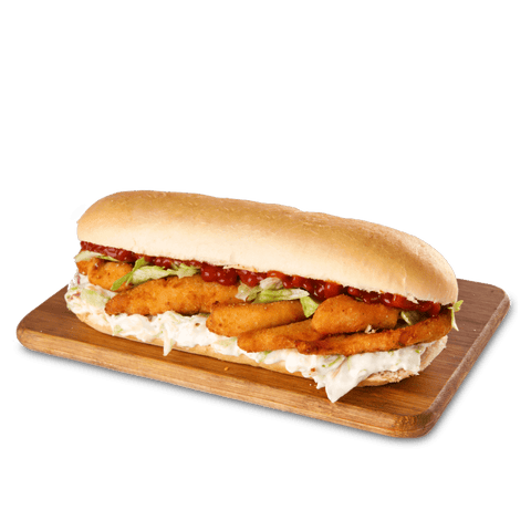 Marinated Chicken Strips, Iceberg, Ketchup, Coleslaw filled in a sub.