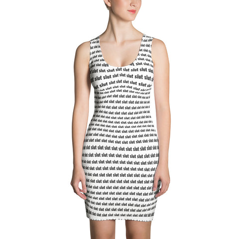 slut cut & sew dress (black print)
