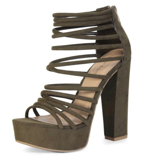 Olive Green Open Toe Chunky Heel