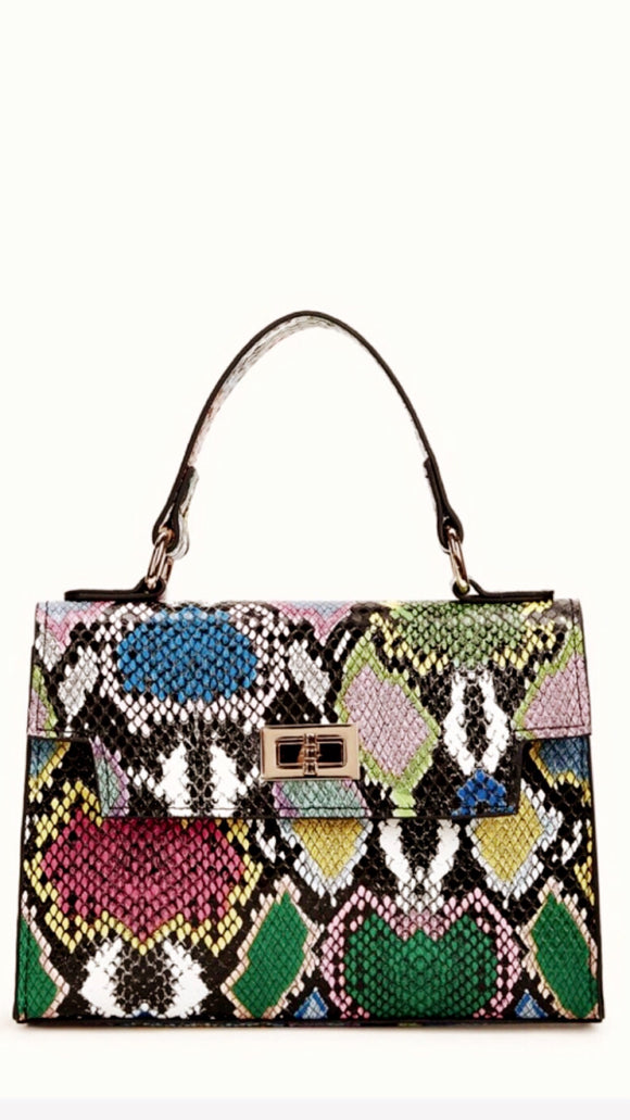 Multicolored Snakeskin Chain Satchel