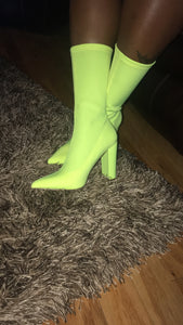 Lime Green Sock Bootie