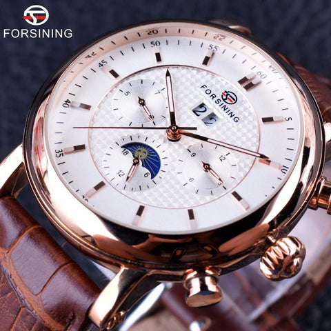 Forsining Luxury Watch for Men with Moon Phases - DealOKart