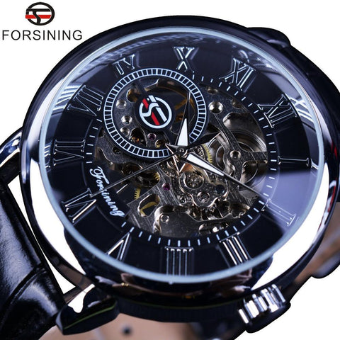 Forsining Black Dial Designer Watches for Men - DealOKart
