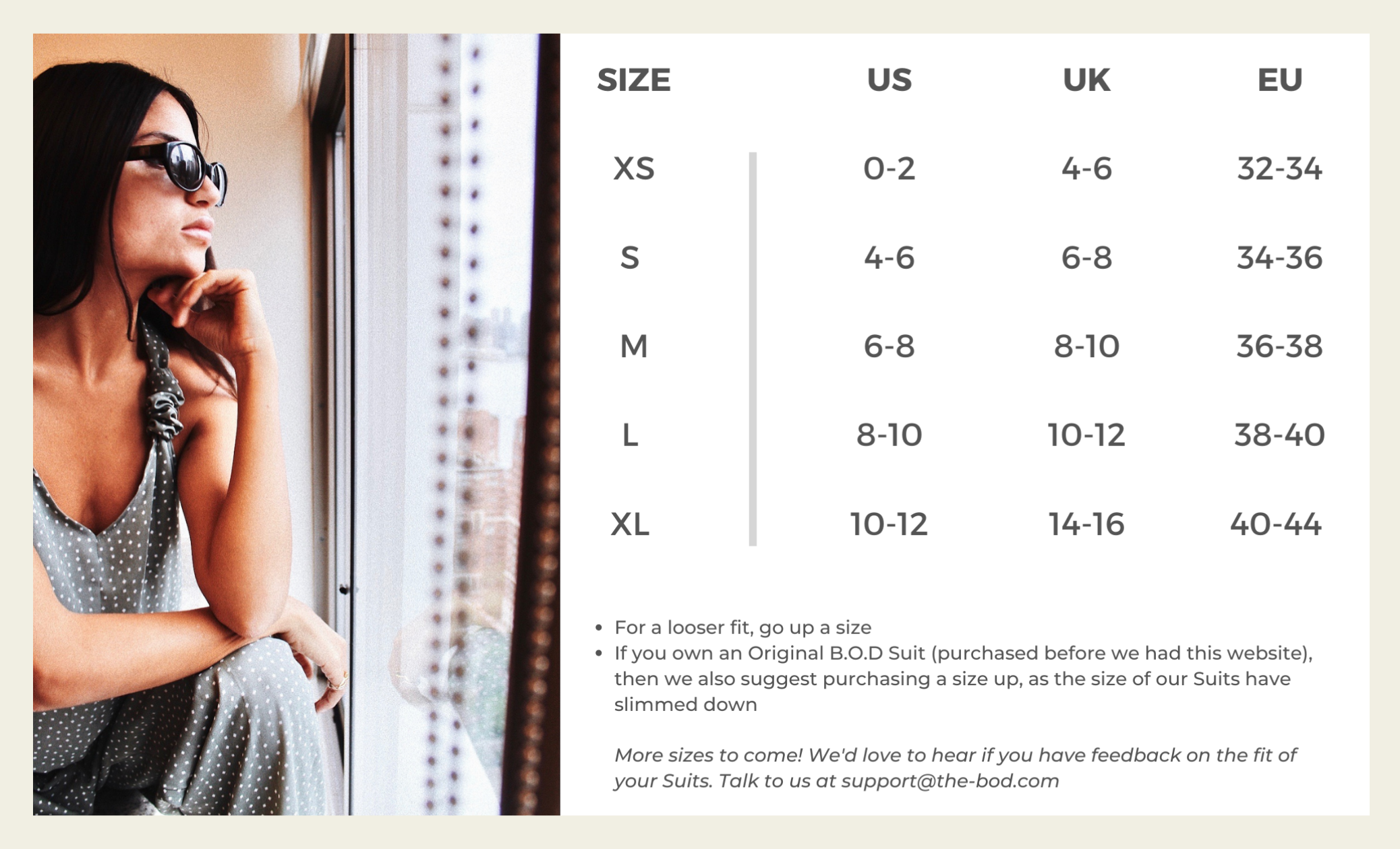 THE B.O.D size chart, size guide, size chart,