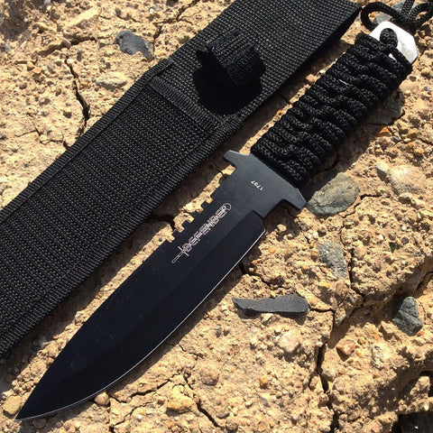 "12"" Hunting Knife Black Handle and Sheath"