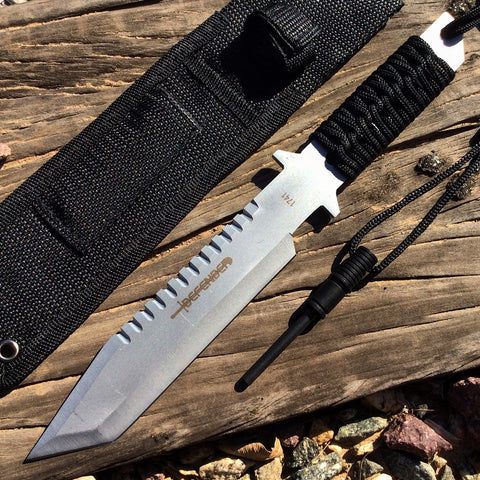 "11"" Silver Full Tang Hunting Knife With Fire Starter & Sheath"