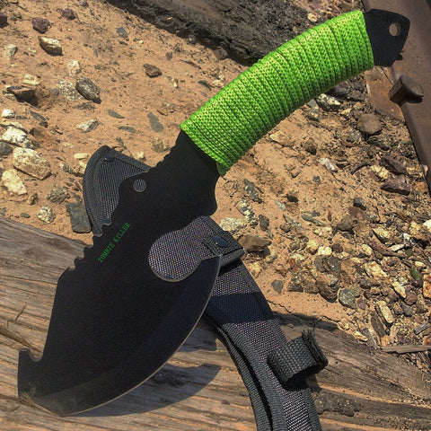 "10.5"" Black Full Tang Zombie Killer Skinner Hunting Knife with Sheath"
