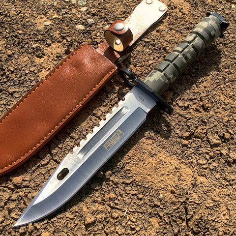 "13"" Green Woodland camo Bayonet Hunting Knife with Sheath"