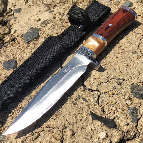 "10.5"" Hunting Knife Silver Stainless Steel Wood Handle with Sheath"
