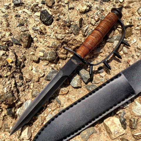 "12.5"" Brown & Black Hunting Knife with Spiked Handle & Sheath"