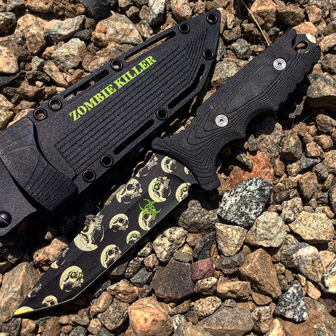 "10"" Zombie Killer Stainless Steel Hunting Knife With Sheath & Belt Clip"
