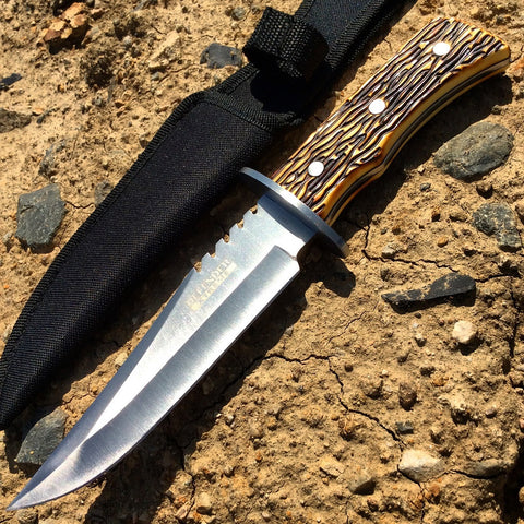"11"" Defender Xtreme Full Tang Silver Hunting Knife with Sheath"