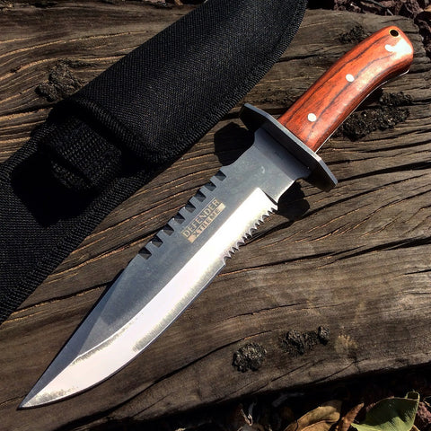 "11.25"" Defender Xtreme Full Tang Serrated Blade Silver & Wood Hunting Knife with Sheath"