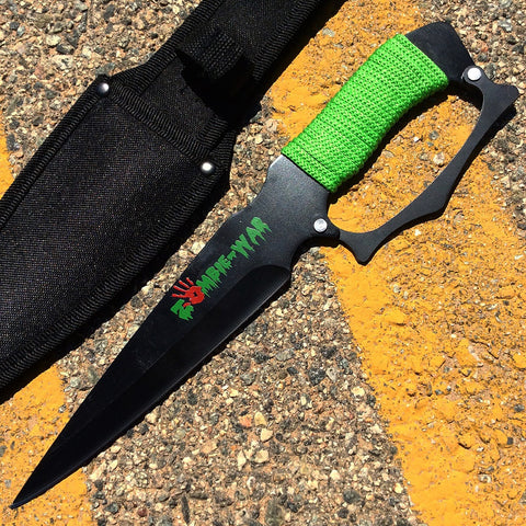 "12"" Zombie War Black Blade Hunting Knife Green Cord Wrapped Handle with Sheath"