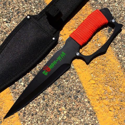 "12"" Zombie War Black Blade Hunting Knife Red Cord Wrapped Handle with Sheath"