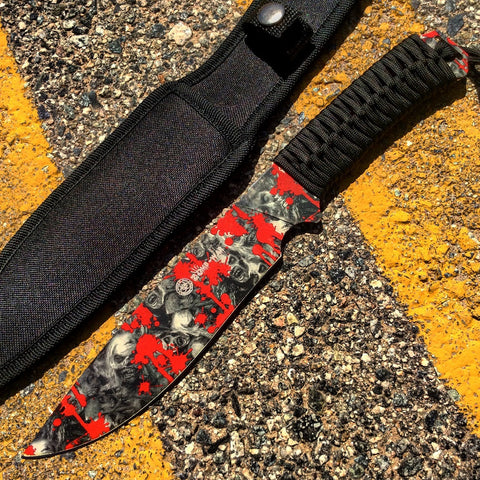 "12"" Zomb-War Hunting Knife Black Cord Wrapped Handle With White Zombie Design"