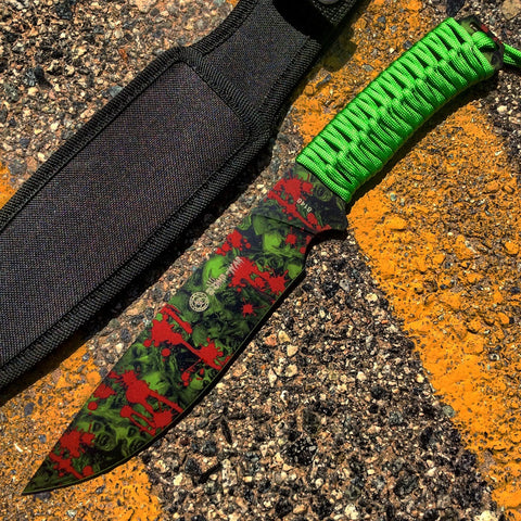 "12"" Zomb-War Hunting Knife Green Cord Wrapped Handle With Green Zombie Design"