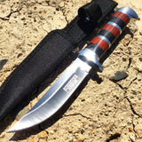 "10""  Defender Extreme Hunting Knife Stainless Steel Blade with Wood Handle"