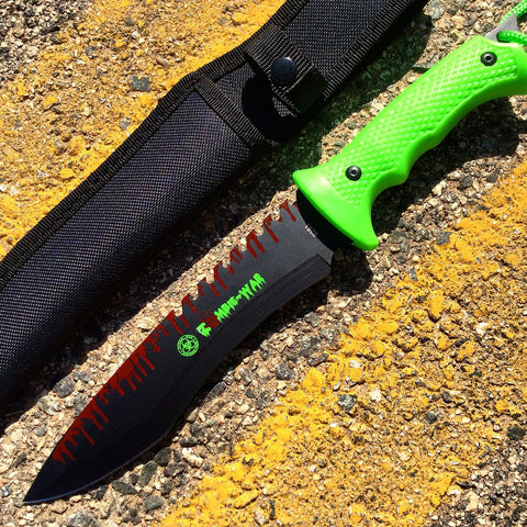 "13"" Zombie-War Stainless Steel Hunting Knife with Neon Green Handle"