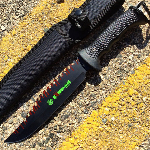 "13"" Zombie-War Stainless Steel Hunting Knife with Black Handle"