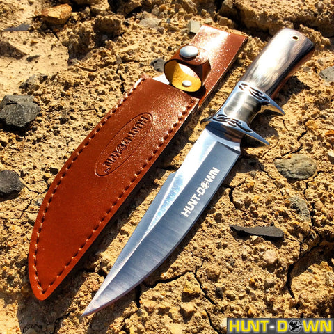 "12"" Hunt-Down Fixed Blade Knife with Leather Sheath"