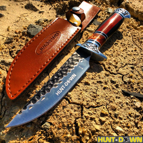 "12"" Hunt-Down Decorative Sporting Knife with Leather Sheath"