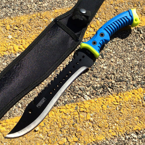 "16"" Defender Xtreme Full Tang Hunting Knife with Blue/Neon Green Rubber Handle"