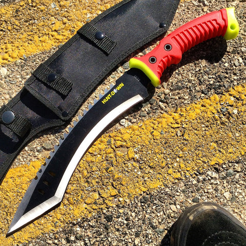 "16"" Hunt-Down Full Tang Hunting Knife with Red/Neon Green Rubber Handle"