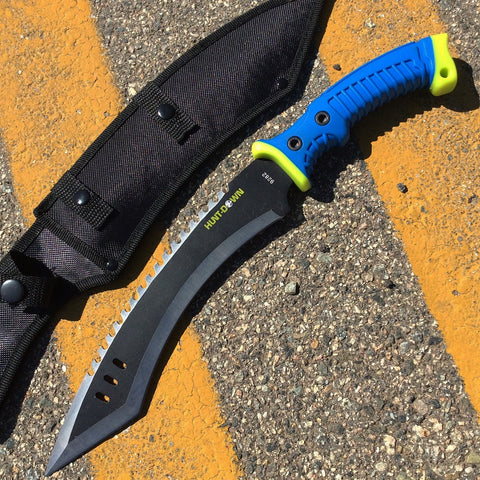 "16"" Hunt-Down Full Tang Hunting Knife with Blue/Neon Green Rubber Handle"