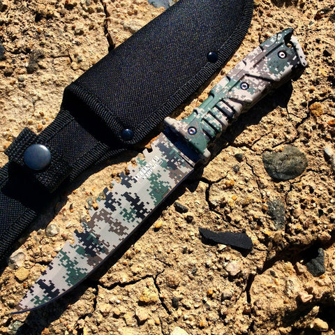 "11"" Defender Xtreme Full Tang Hunting Knife Gray Digital Camo"